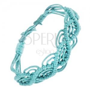 Světle modrý zaplétaný náramek ze šňůrek, vzor vln