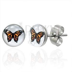 Náušnice z chirurgické oceli s oranžovým motýlem