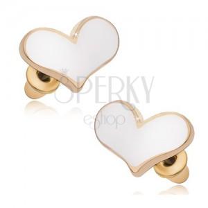 Náušnice zlaté barvy, bílá glazovaná asymetrická srdce