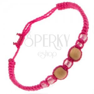 Šňůrkový náramek růžové barvy, dvě dřevěné kuličky, skleněné korálky