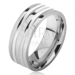 Ocelový prsten stříbrné barvy, lesklý, dvě široké rýhy