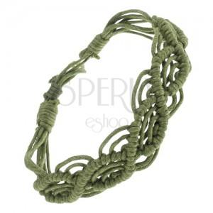 Zaplétaný náramek ze zelených šňůrek, vlnkový motiv