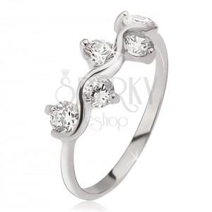 Prsten ze stříbra 925, vlnkový vzor, kulaté čiré zirkony