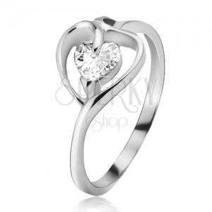Stříbrný prsten 925, kontura srdce s čirým zirkonem