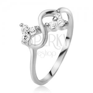 Prsten ze stříbra 925, symbol nekonečna, čiré broušené kamínky