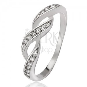Prsten ze stříbra 925, zirkonové vlnky