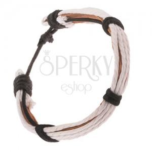 Kožený náramek - světle hnědý pruh, bílé a černé šňůrky