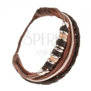 Kožený multináramek - hnědý pás, pletenec, šňůrky s korálky