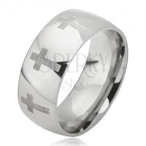 Prsten z oceli - lesklá stříbrná obroučka, matný latinský kříž