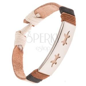 Kožený náramek - béžový pás, ocelová známka s ještěřičkami, šňůrky