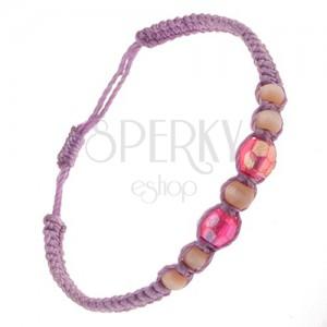 Fialový náramek ze šňůrek, skleněné korálky růžové a světle hnědé barvy