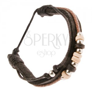 Multináramek - tmavohnědý kožený pás, černá a hnědá šňůrka, korálky