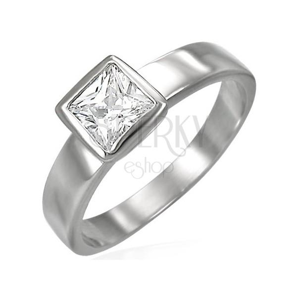 Ocelový prsten stříbrné barvy, čirý čtvercový zirkon v objímce