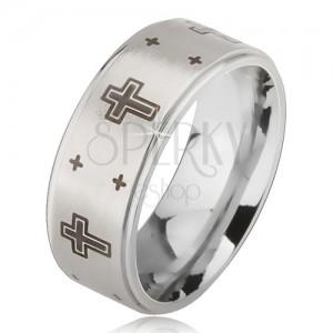 Prsten z oceli - stříbrná obroučka s matným středem, potisk kříže
