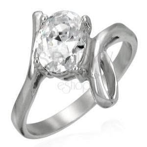 Prsten z oceli s velikým zirkonem a smyčkou