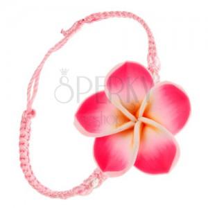 Světle růžový šňůrkový náramek - hustě spletený, žluto-růžový FIMO květ