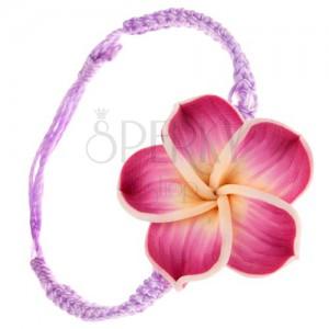 Šňůrkový náramek světle fialové barvy, žluto-cyklamenový Fimo květ
