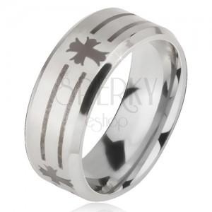 Matný ocelový prsten - stříbrná obroučka na prst, potisk pásů a kříže