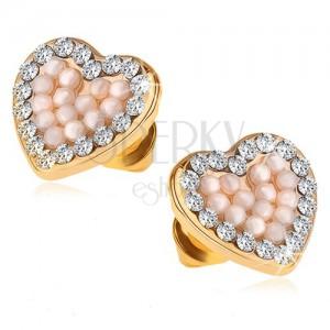 Náušnice ve zlatém provedení, symetrické srdce, perličky, čiré kamínky