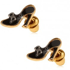 Náušnice zlaté barvy, černé glazované dámské lodičky s mašličkou Q20.13