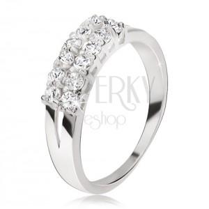 Prsten ze stříbra 925 - rozdvojená ramena, dva pásy čirých zirkonů