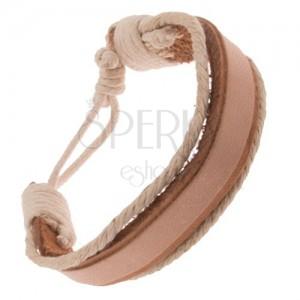 Náramek na ruku z kůže - široký a tenký béžový pás, krémové šňůrky
