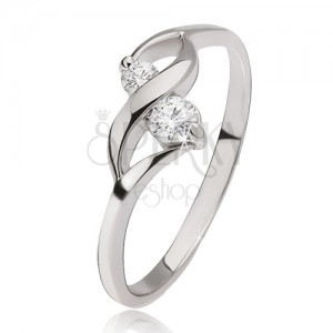 Stříbrný prsten 925 - lesklá vlnka, dva okrouhlé čiré kamínky v kotlících