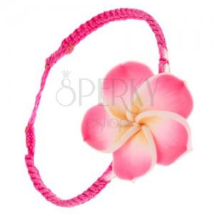 Šňůrkový náramek sytě růžové barvy, žluto-růžový Fimo květ
