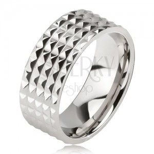 Lesklý ocelový prsten - stříbrná obroučka na prst, drobné blyštivé pyramidy