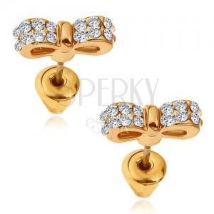 Náušnice zlaté barvy, třpytivé zirkonové pánské motýlky