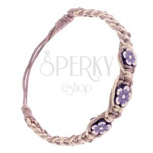 Pletený šňůrkový náramek - béžovo-fialový, drobné FIMO kvítky