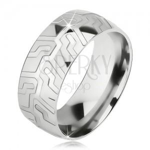 Ocelový prsten stříbrné barvy, strukturovaný dezén pneumatiky