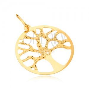 Přívěsek ze žlutého zlata 14K - strom života, kruhový rámeček, gravírovaný