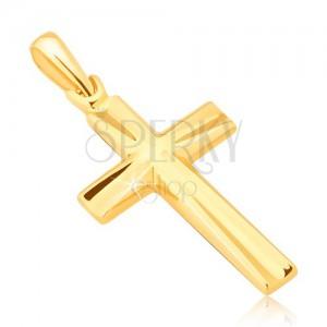 Přívěsek ve žlutém 14K zlatě - lesklý latinský kříž, vyhloubené trojúhelníky
