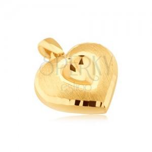 Zlatý přívěsek 585 - symetrické 3D srdce, vyhloubené srdíčko, saténový povrch