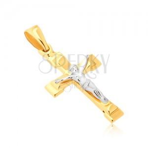 Přívěsek ze 14K zlata - lesklý berličkový kříž s ukřižovaným Kristem