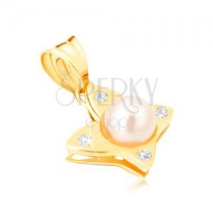 Zlatý přívěsek 585 - lesklý motýl s kulatými čirými zirkony, perla