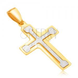 Přívěsek ze 14K zlata - dvoubarevný, latinský kříž s berličkovým uvnitř