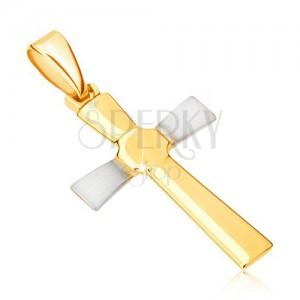 Dvoubarevný zlatý přívěsek 585 - kříž s rozšiřujícími se rameny, polygon