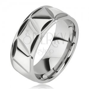 Prsten z chirurgické oceli, lesklý, kosodélníkový vzor