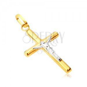 Přívěsek ze 14K zlata - lesklý latinský kříž, ukřižovaný Kristus v bílém zlatě