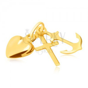 Trojpřívěsek ve žlutém 14K zlatě - kotva, srdce a kříž, lesklé a hladké