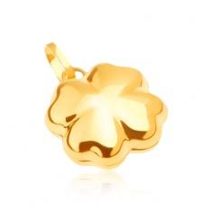 Lesklý zlatý přívěsek 585 - trojrozměrný čtyřlístek pro štěstí GG05.29