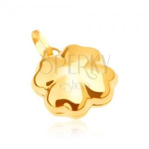 Lesklý zlatý přívěsek 585 - trojrozměrný čtyřlístek pro štěstí