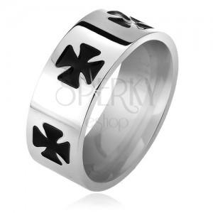 Lesklá ocelová obroučka na prst, černé glazované maltézské kříže