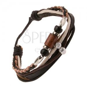 Multináramek, béžovo-černý kožený pletenec, černý pás, šňůrky, korálky