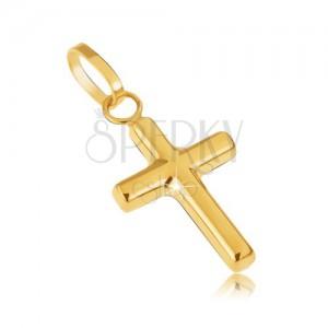 Zlatý přívěsek 585 - drobný latinský kříž, zrcadlový lesk