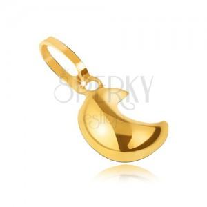 Lesklý přívěsek ze žlutého 14 zlata - vypouklý trojrozměrný srpek měsíce