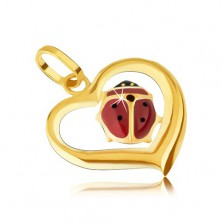 Zlatý přívěsek 585 - obrys nepravidelného srdce, glazovaná beruška