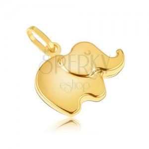 Přívěsek ze žlutého 14K zlata - malý blyštivý zaoblený sloník